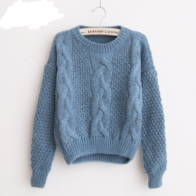 Women's  Pullover, Crew Neck, Mohair Pullover, Twist Pull, Knitted Sweater 1