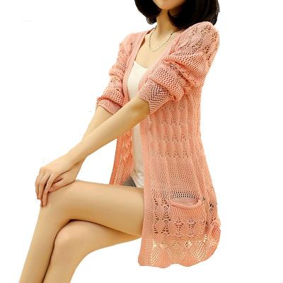 2019 Fashion, Knitted Cardigan, Loose Pocket Hollow Long Sleeve, Women's Cardigan