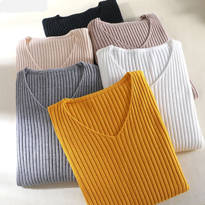 2019 basic v-neck solid autumn winter Sweater Pullover Women Female Knitted sweater slim long sleeve badycon sweater cheap